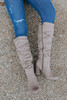 Faux Suede Ruched Taupe Knee High Boots