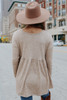 Long Sleeve Taupe Brushed Babydoll Top
