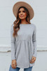 Long Sleeve Grey Brushed Babydoll Top