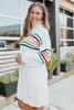 Turtleneck Rainbow Stripe Sweater Dress