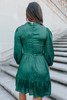 Mock Neck Metallic Ruffle Hem Dress