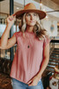 Cap Sleeve Dusty Pink Dotted Blouse