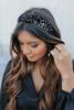 Knotted Burnout Printed Velvet Headband