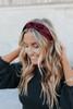 Knotted Burnout Burgundy Velvet Headband