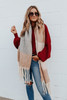 Brushed Mauve Colorblock Fringe Scarf