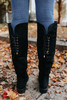 Lace Up Black Knee High Boots