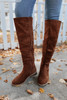 Lace Up Chestnut Knee High Boots
