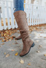 Lace Up Taupe Knee High Boots