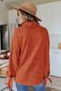 Cowl Neck Rust Tie Sleeve Sweater