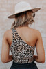 One Shoulder Leopard Bodysuit