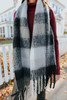 Snow Flurry Brushed Black Plaid Scarf