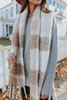 Snow Flurry Brushed Beige Plaid Scarf