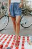 Drawstring Medium Wash Chambray Shorts
