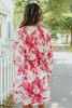 Giselle Surplice Pink Floral Kimono Dress