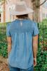Mock Neck Short Sleeve Smocked Chambray Top