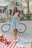 V-Neck Vintage Wash Pleated Denim Dress