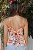 Tie Back Floral Ruffle Hem Tank