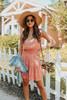 Ruffle Strap Smocked Apricot Printed Dress