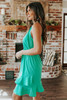 Tie Waist Halter Green Ruffle Hem Dress