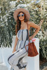 Strapless Neutral Mixed Print Jumpsuit