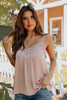 V-Neck Lace Detail Dusty Pink Dotted Cami