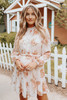 Mock Neck Tie Waist Blush Floral Dress
