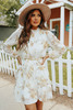 Mock Neck Tie Waist Ivory Floral Dress