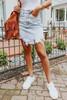Amabella Distressed Light Wash Denim Skirt