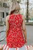 V-Neck Smocked Red Floral High Low Top