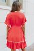 V-Neck Coral Embroidered Ruffle Hem Dress