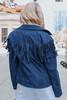 Faux Suede Navy Fringe Moto Jacket