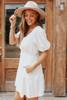 Puff Sleeve Surplice Jacquard Lace Cream Dress