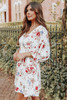 V-Neck 3/4 Sleeve Floral Empire Dress