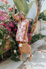 V-Neck Ruffle Sleeve Blush Floral Dress