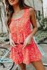 Button Detail Red Printed Tiered Romper