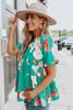 Short Sleeve Green Floral Babydoll Top
