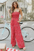 Strapless Smocked Red Printed Jumpsuit