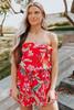 Summer Heat Strapless Red Floral Romper