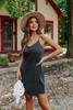 V-Neck Washed Black Faux Wrap Dress