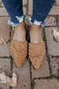 Amie Faux Suede Tan Studded Mules