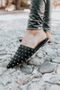 Amie Faux Suede Black Studded Mules