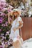 Short Sleeve White Floral Wrap Dress