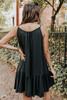Scoop Neck Black Ruffle Hem Dress