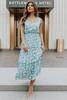 V-Neck Dusty Blue Floral Tiered Midi Dress