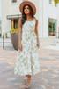Tie Waist Olive Floral Tiered Midi Dress