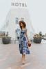 Tie Strap Navy Paisley Patchwork Midi Dress