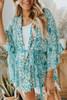 Tie Waist Floral Print Teal Kimono