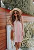 Button Down Peach Printed Dress