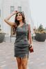 One Shoulder Vintage Black Denim Dress
