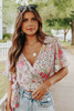 Short Sleeve Mixed Floral Wrap Top